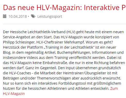 Das neue HLV-Magazin: Interaktive Plattform für Trainer