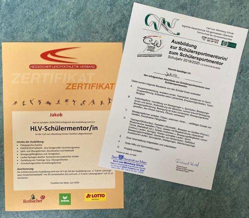 Erfolgreicher Abschluss der Sportmentoren-Ausbildung an der Carl-von-Weinberg-Schule Frankfurt