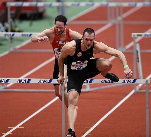 """Der """"krasse"""" Kevin - mit neuer Bestzeit den deutschen 60-Meter-Hallenrekord eingestellt. Georg Fleischhauer Vizemeister über die 60-Meter-Hürden"""