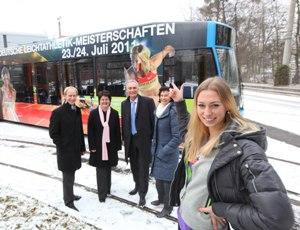 Wettkampf-Bahn der KVG  <br>wirbt für DM in Kassel
